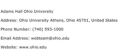 Adams Hall Ohio University Address Contact Number