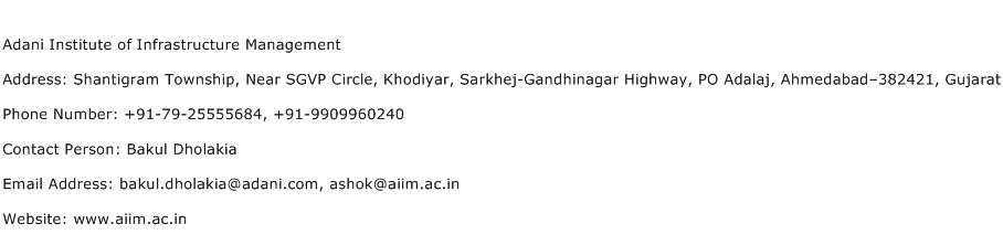Adani Institute of Infrastructure Management Address Contact Number