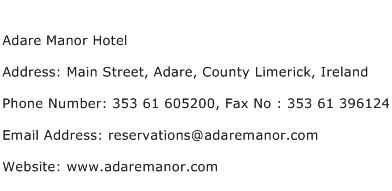 Adare Manor Hotel Address Contact Number