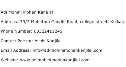 Adi Mohini Mohan Kanjilal Address Contact Number
