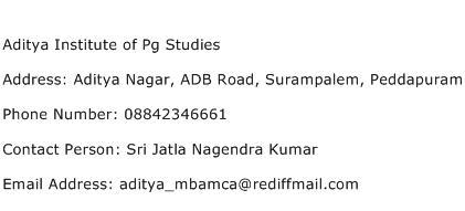 Aditya Institute of Pg Studies Address Contact Number