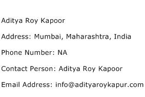 Aditya Roy Kapoor Address Contact Number