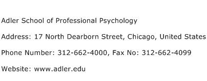 Adler School of Professional Psychology Address Contact Number