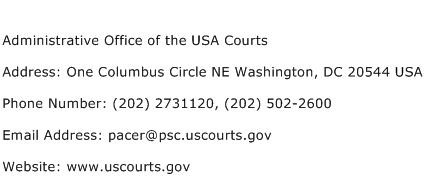 Administrative Office of the USA Courts Address Contact Number