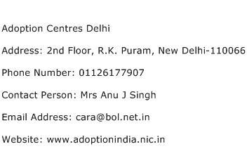 Adoption Centres Delhi Address Contact Number