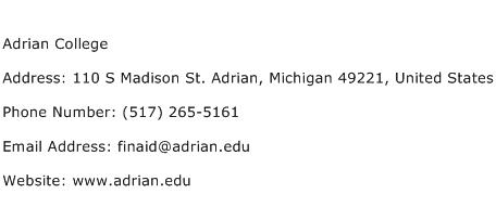 Adrian College Address Contact Number