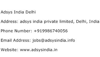 Adsys India Delhi Address Contact Number