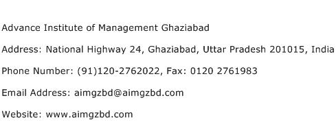 Advance Institute of Management Ghaziabad Address Contact Number