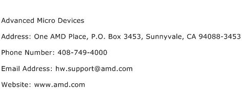 Advanced Micro Devices Address Contact Number