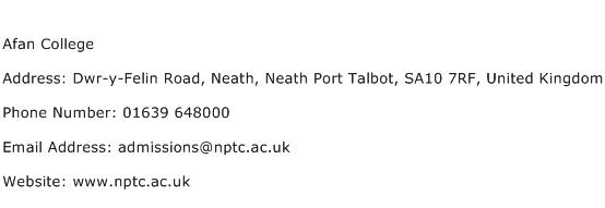 Afan College Address Contact Number