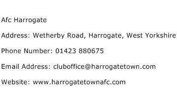 Afc Harrogate Address Contact Number