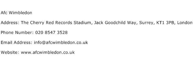 Afc Wimbledon Address Contact Number