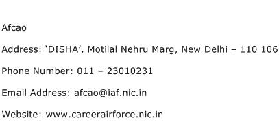 Afcao Address Contact Number