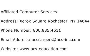 Affiliated Computer Services Address Contact Number
