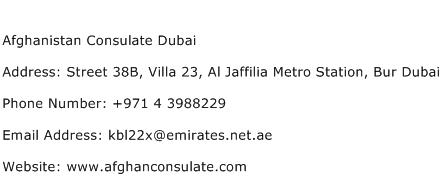 Afghanistan Consulate Dubai Address Contact Number