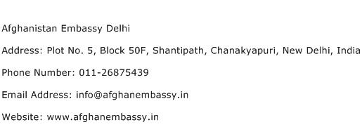 Afghanistan Embassy Delhi Address Contact Number