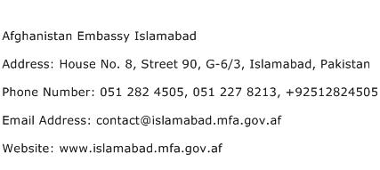 Afghanistan Embassy Islamabad Address Contact Number