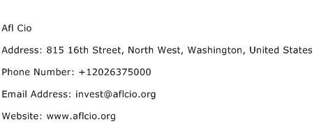 Afl Cio Address Contact Number