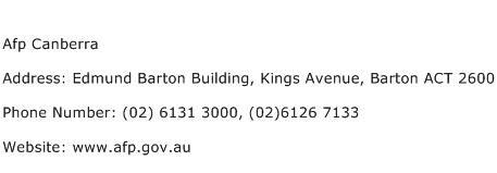 Afp Canberra Address Contact Number