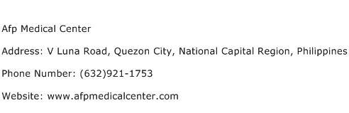 Afp Medical Center Address Contact Number