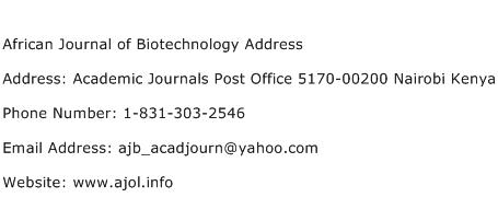 African Journal of Biotechnology Address Address Contact Number