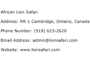 African Lion Safari Address Contact Number