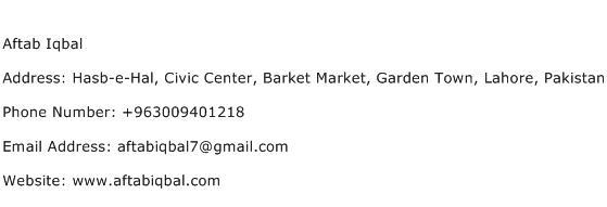 Aftab Iqbal Address Contact Number