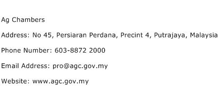 Ag Chambers Address Contact Number