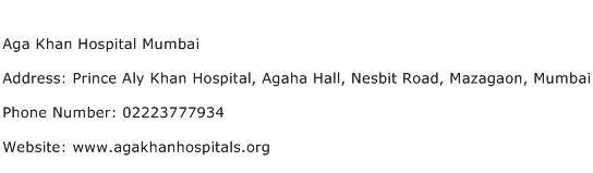 Aga Khan Hospital Mumbai Address Contact Number
