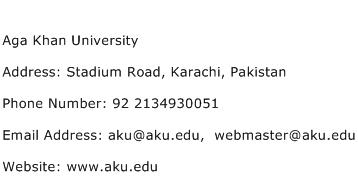 Aga Khan University Address Contact Number