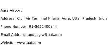 Agra Airport Address Contact Number