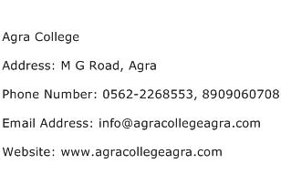 Agra College Address Contact Number