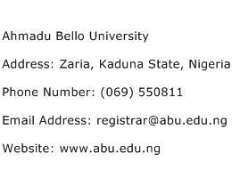 Ahmadu Bello University Address Contact Number