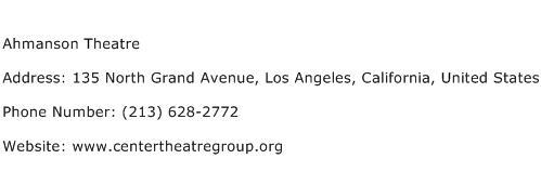 Ahmanson Theatre Address Contact Number