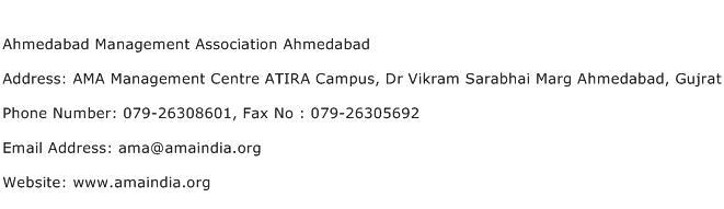 Ahmedabad Management Association Ahmedabad Address Contact Number