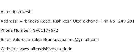 Aiims Rishikesh Address Contact Number