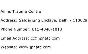 Aiims Trauma Centre Address Contact Number