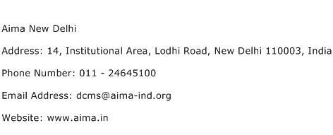 Aima New Delhi Address Contact Number
