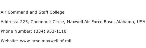 Air Command and Staff College Address Contact Number