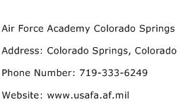 Air Force Academy Colorado Springs Address Contact Number