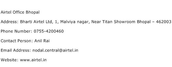 Airtel Office Bhopal Address Contact Number