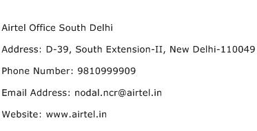 Airtel Office South Delhi Address Contact Number