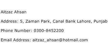 Aitzaz Ahsan Address Contact Number