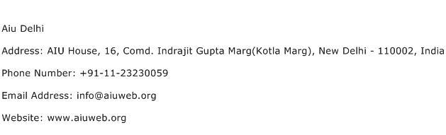 Aiu Delhi Address Contact Number