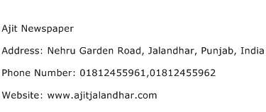 Ajit Newspaper Address Contact Number