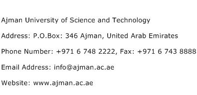 Ajman University of Science and Technology Address Contact Number