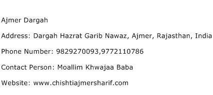 Ajmer Dargah Address Contact Number