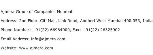 Ajmera Group of Companies Mumbai Address Contact Number
