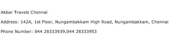 Akbar Travels Chennai Address Contact Number