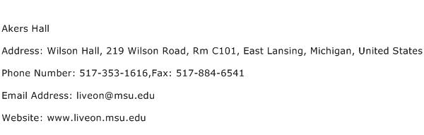 Akers Hall Address Contact Number